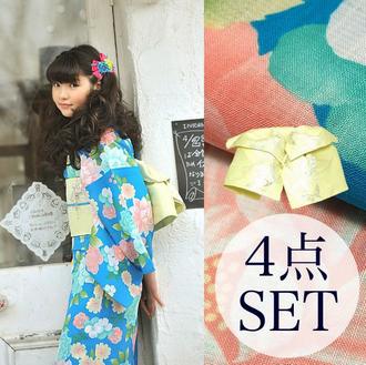 e3b098583ee701 京都きもの町オリジナル 浴衣4点セット「スカイブルー バラと蝶」.